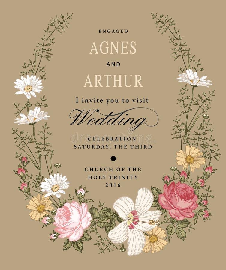 De uitnodiging van het huwelijk De mooie bloemenkamille nam hibiscusmalve toe Uitstekende groetkaart Kader Tekeningsgravure stock illustratie