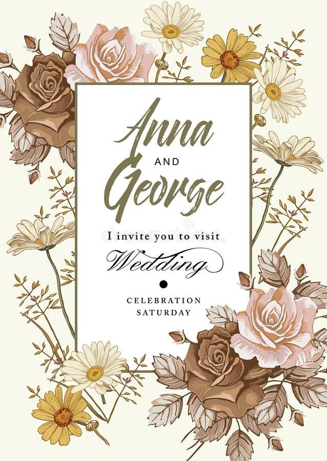 De uitnodiging van het huwelijk De mooie realistische bloemenkamille nam kaart toe Kader, etiket Vector victorian Illustratie royalty-vrije illustratie