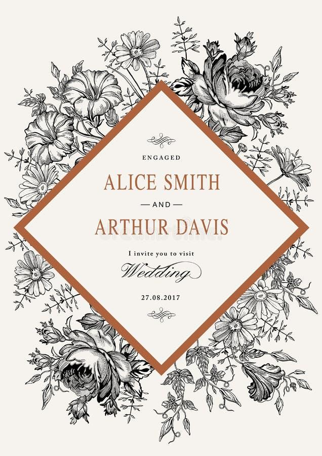 De uitnodiging van het huwelijk De mooie realistische bloemenkamille nam kaart toe Kader, etiket Vector victorian Illustratie pet stock illustratie