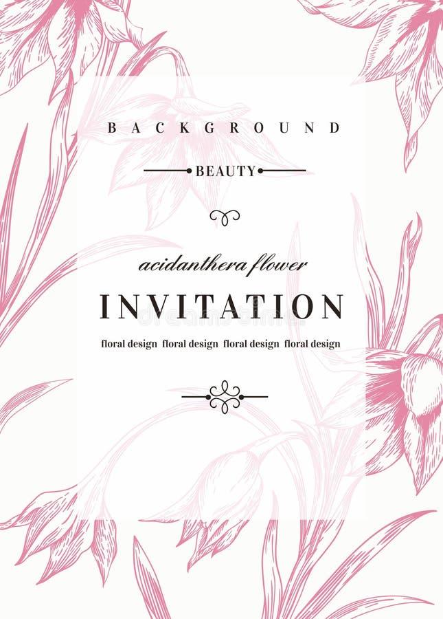 De uitnodiging van het huwelijk met bloemen stock illustratie