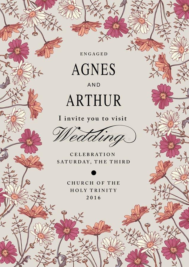 De uitnodiging van het huwelijk Mooie bloemenkamille Uitstekende groetkaart Kader Tekeningsgravure Vector victorian Illustratie royalty-vrije illustratie