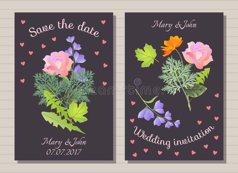 De uitnodiging van het huwelijk Sparen de Datum Leuke kaarten met boeketten van mooie bloemen royalty-vrije illustratie