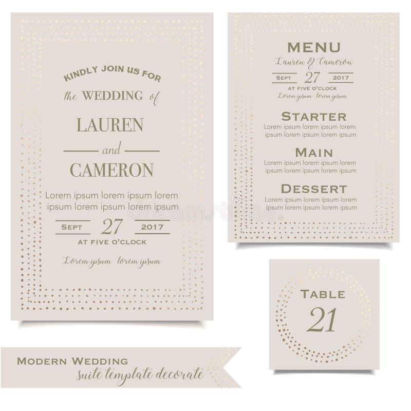 De uitnodiging van het huwelijk Sparen de datumkaart De kaart van de groet Uitstekende Vector stock illustratie