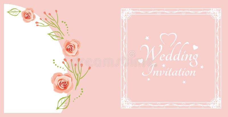 De uitnodiging van het huwelijk Steekproef voor prentbriefkaar met roze rozen royalty-vrije illustratie