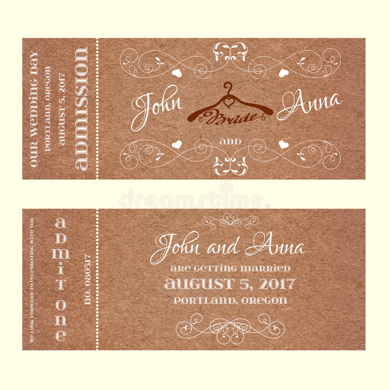 De Uitnodiging van het kaartjeshuwelijk met hangers voor bruid stock illustratie