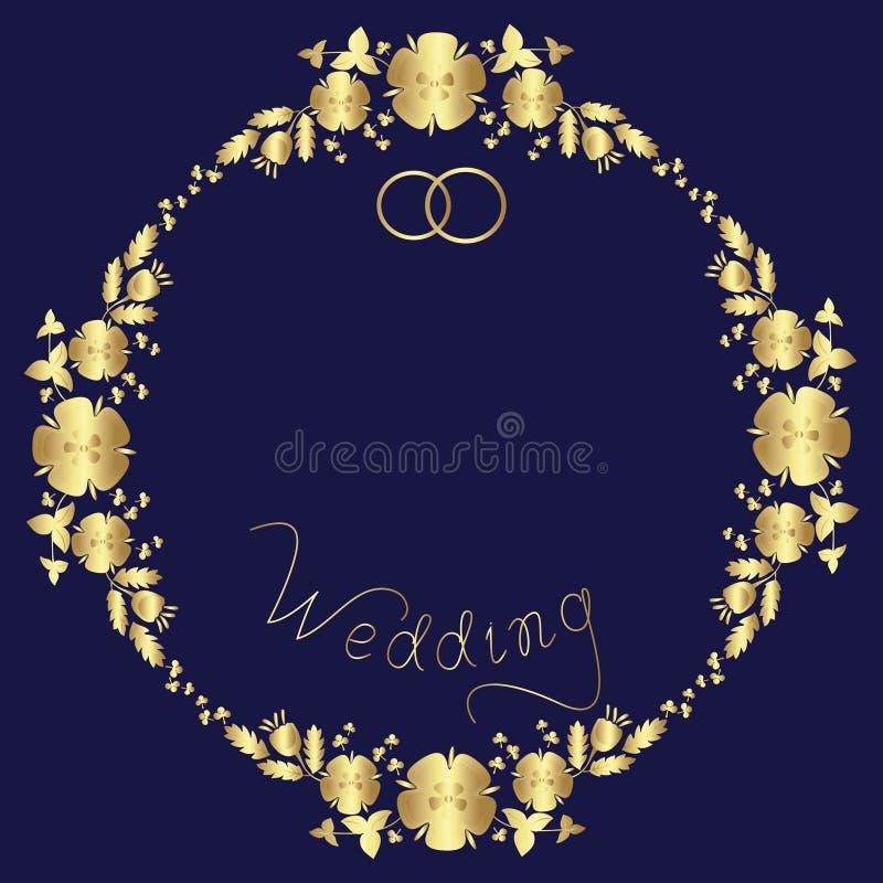 De uitnodiging van het ontwerphuwelijk van een bloemenkroon, woorden en twee ringen royalty-vrije illustratie