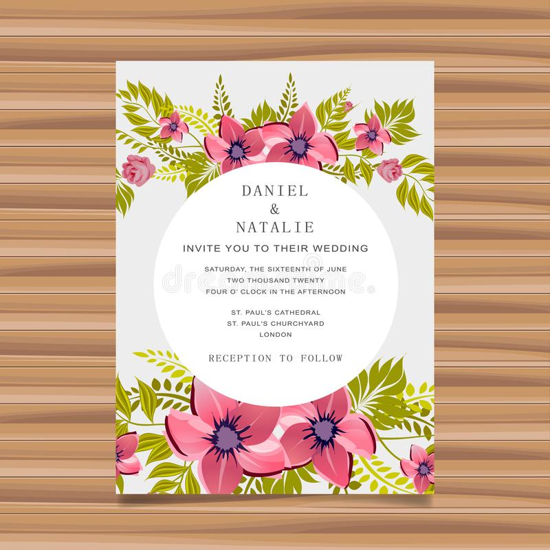 De uitnodiging van de huwelijkskaart met bloemdecoratie royalty-vrije illustratie