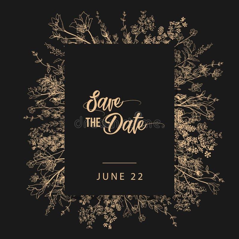 De uitnodiging van de huwelijkspartij en bewaart de malplaatjes van de Datumkaart met Lelietje-van-dalenbloemen overhandigt getro stock illustratie