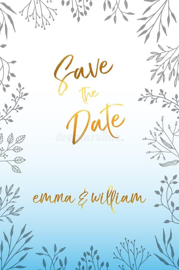 De uitnodiging van de huwelijkspartij en bewaart de malplaatjes van de Datumkaart met Lelietje-van-dalenbloemen overhandigt getro royalty-vrije illustratie