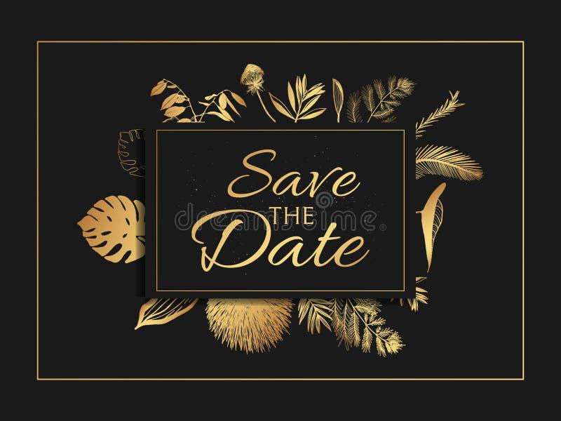 De uitnodiging van de huwelijkspartij en bewaart de malplaatjes van de Datumkaart met Lelietje-van-dalenbloemen overhandigt getro vector illustratie