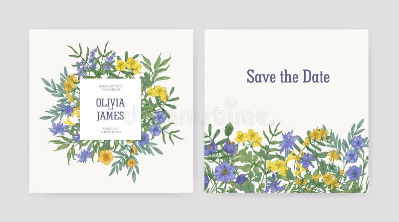 De uitnodiging van de huwelijkspartij en bewaart de malplaatjes van de Datumkaart met mooie gele en purpere bloeiende wildernis w stock illustratie