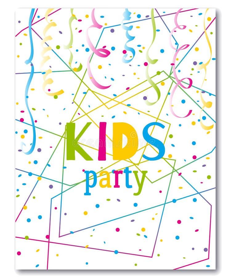 De Uitnodiging van de jonge geitjespartij Ontwerpmalplaatje met confettien en kronkelweg op kleurrijke veelhoekige achtergrond stock illustratie