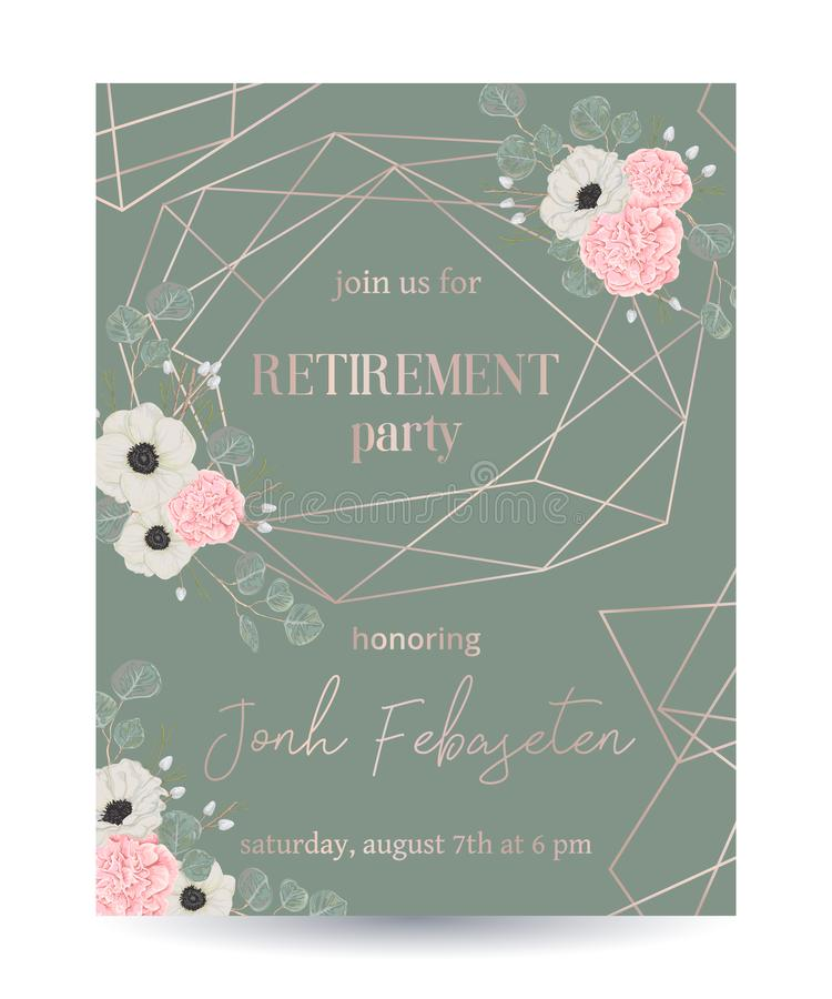 De uitnodiging van de pensioneringspartij Ontwerpmalplaatje met roze gouden veelhoekig kader en bloemenelementen in waterverfstij stock illustratie