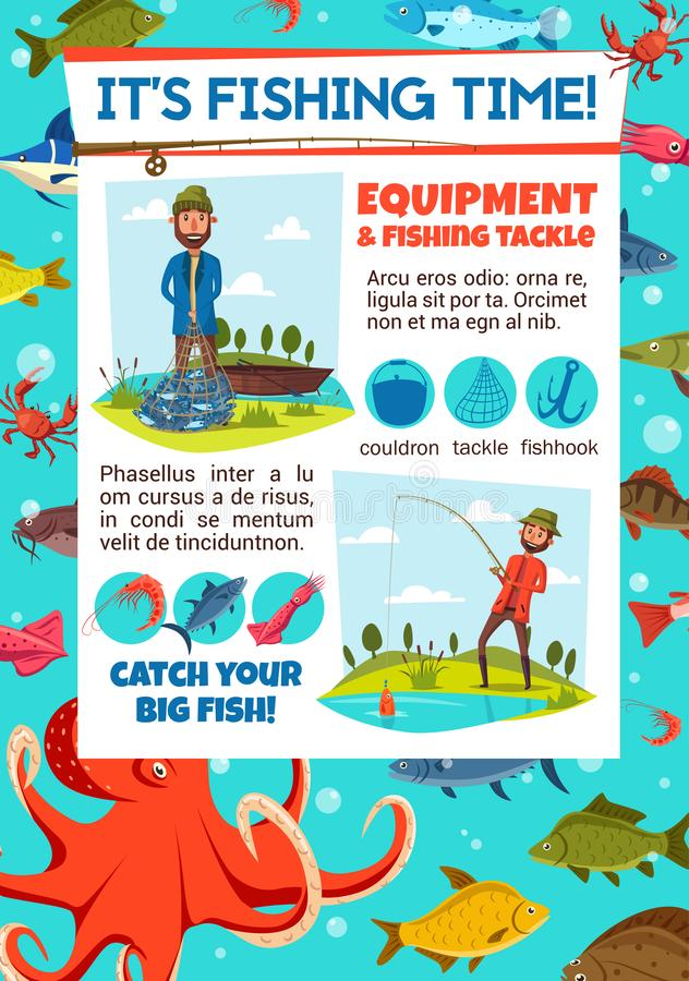 De uitnodiging van de visserijwedstrijd met visser en uitrusting vector illustratie