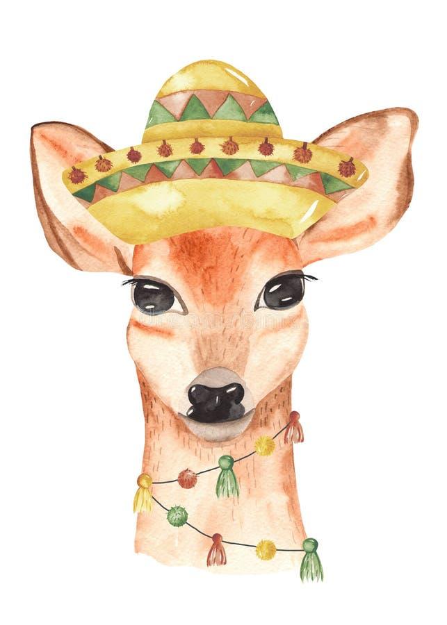 De uitnodiging van de waterverfaffiche met Mexicaanse dierenherten in de hoed vector illustratie