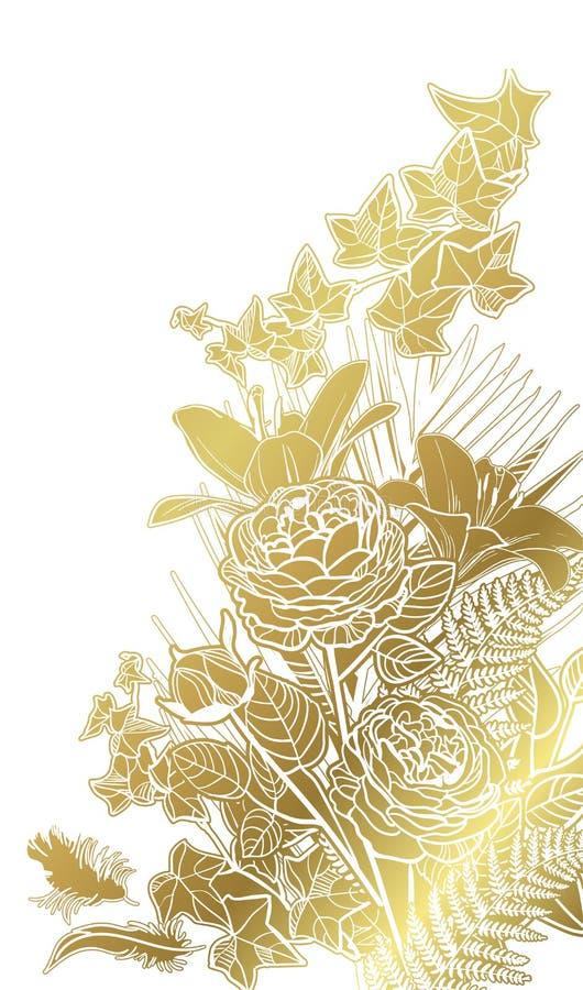 De uitnodigings bloemenweide van de witgoud vectorkaart vector illustratie