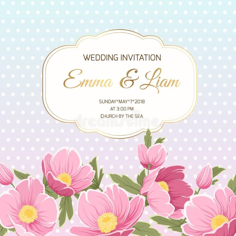 De uitnodigings roze anemoon van het de lentehuwelijk hellebore royalty-vrije illustratie