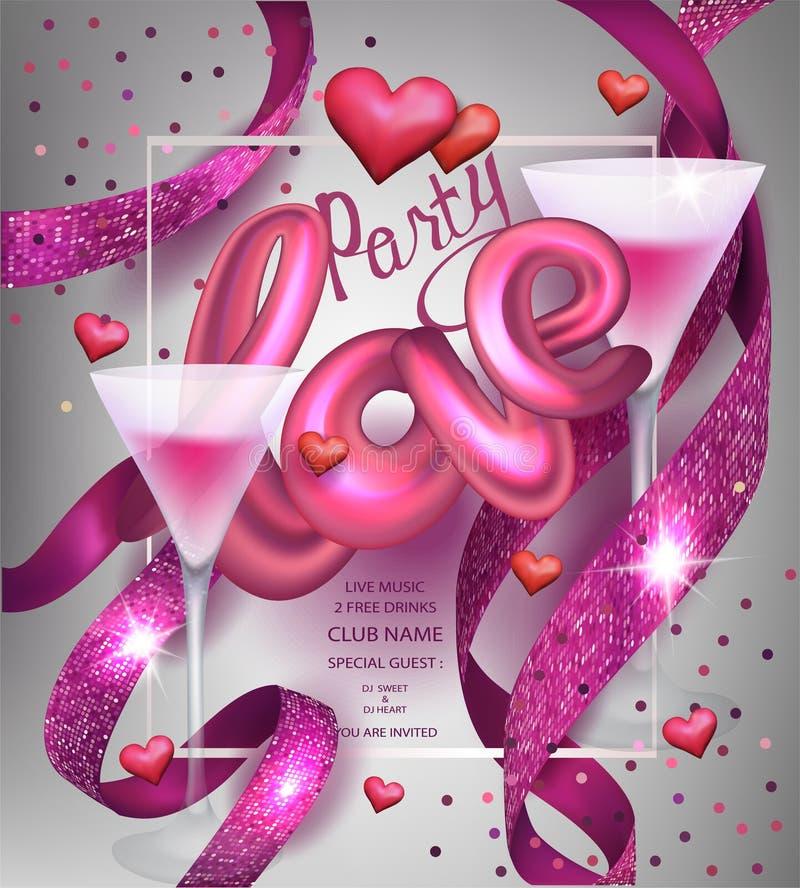 De uitnodigings roze kaart van de liefdepartij met fonkelende linten, glazen van cocktail en harten stock illustratie