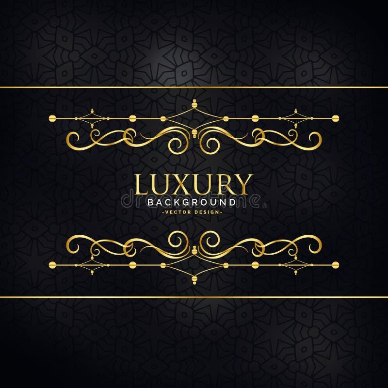 De uitnodigingsachtergrond van de premieluxe met gouden ontwerpdecorati royalty-vrije illustratie
