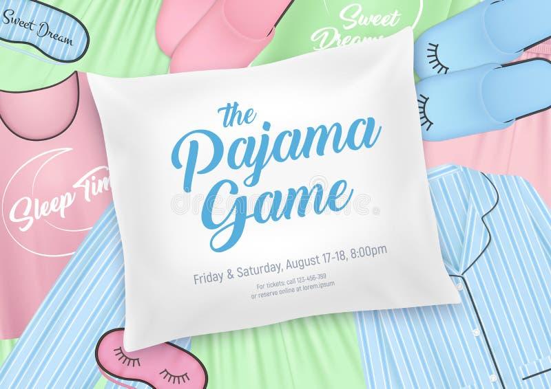 De Uitnodigingsaffiche van de pyjamapartij stock illustratie
