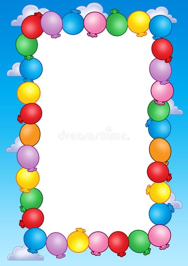 De uitnodigingsframe van de partij met ballons vector illustratie