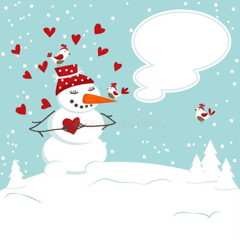De uitnodigingskaart met een sneeuwman stock illustratie