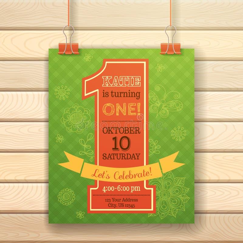 De uitnodigingskaart van de één jaarverjaardag op houten achtergrond royalty-vrije illustratie