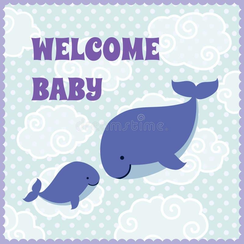 De uitnodigingskaart van de babydouche met leuke beeldverhaalwalvissen stock illustratie