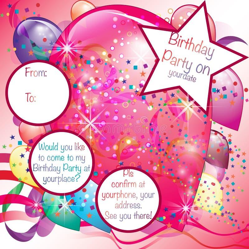 De Uitnodigingskaart van de ballonspartij voor Meisje vector illustratie