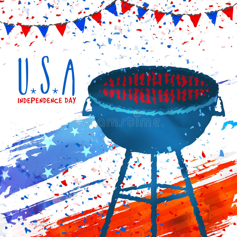 De Uitnodigingskaart van de barbecuepartij voor 4 van Juli vector illustratie