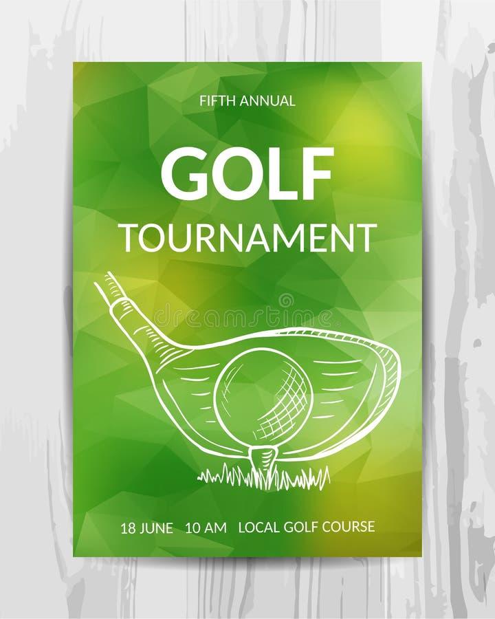 De uitnodigingskaart van de golfpartij De vlieger van sporttoernooien stock illustratie