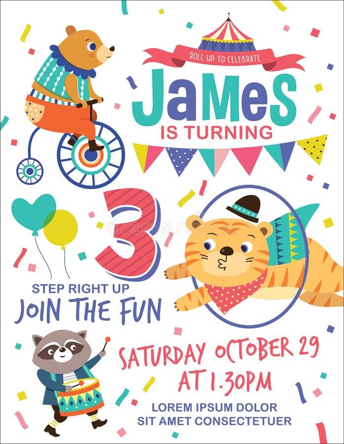 De uitnodigingskaart van de jonge geitjesverjaardag royalty-vrije illustratie