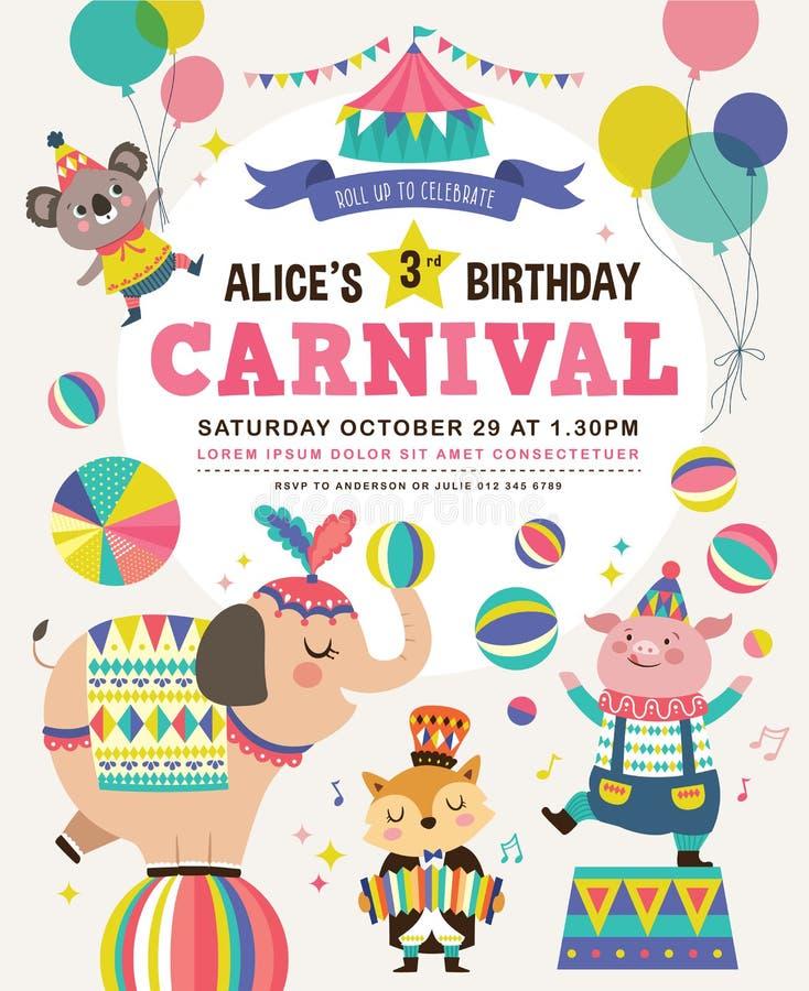 De uitnodigingskaart van de jonge geitjesverjaardag stock illustratie