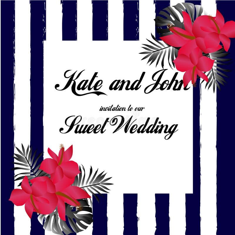 De uitnodigingskaart van het huwelijk De tropische achtergrond van Bloemen vector illustratie