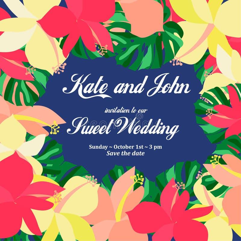 De uitnodigingskaart van het huwelijk De tropische achtergrond van Bloemen stock illustratie