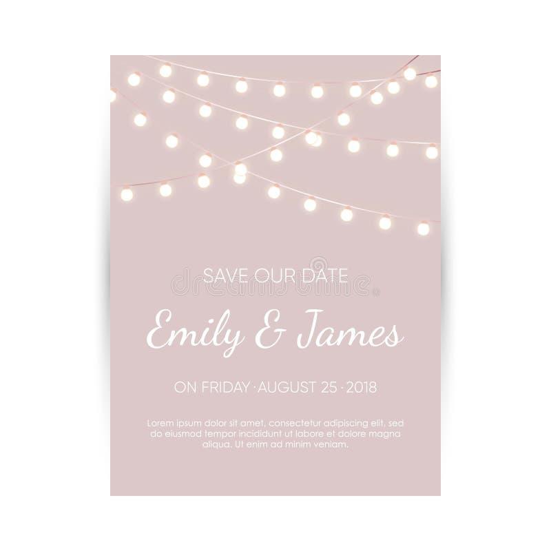 De uitnodigingskaart van het huwelijk Elegant ontwerpmalplaatje stock illustratie