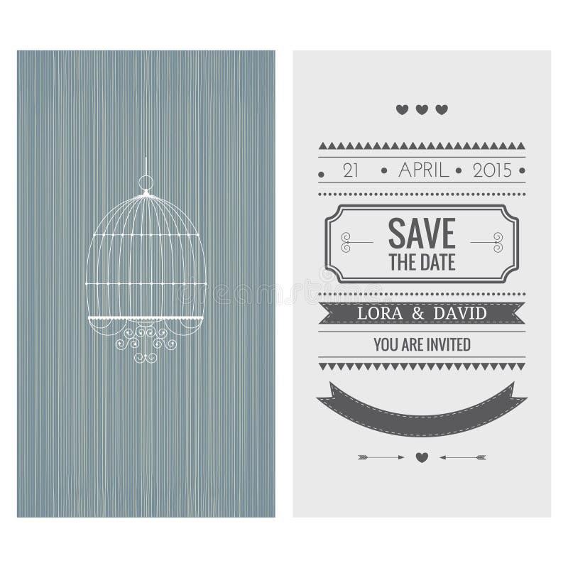De uitnodigingskaart van het huwelijk Sparen de Datum stock illustratie