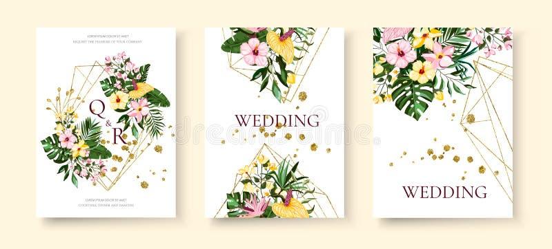 De uitnodigingskaart van het huwelijks tropische exotische bloemen gouden geometrische driehoekige kader vector illustratie