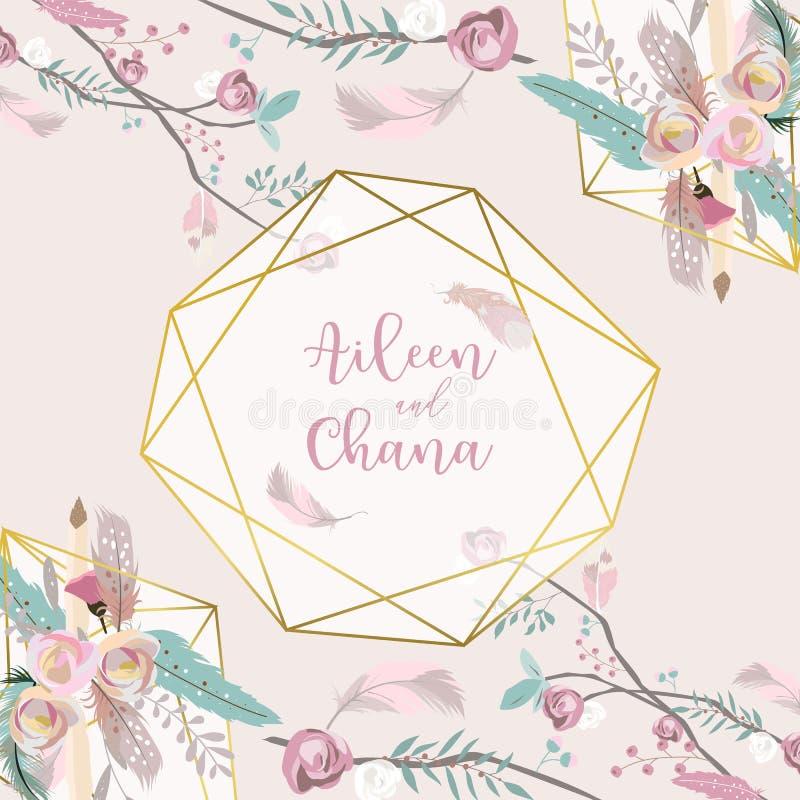 De uitnodigingskaart van het meetkunde roze gouden huwelijk met roze, blad, lint, kroon, veer royalty-vrije illustratie