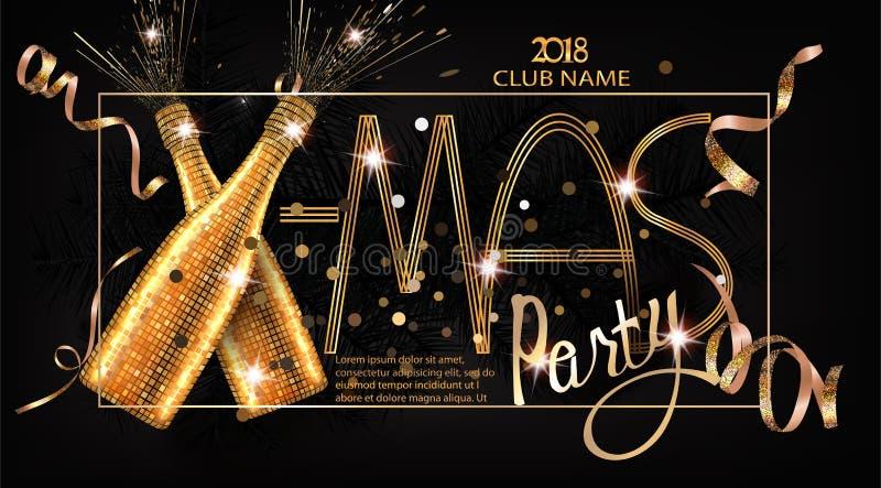 De uitnodigingskaart van de Kerstmispartij met de voorwerpen van Kerstmisdeco vector illustratie