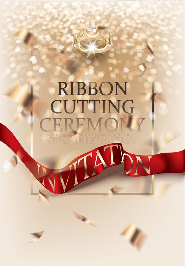 De uitnodigingskaart van de lint scherpe ceremonie met gouden confettien en rood zijdelint Vector illustratie vector illustratie