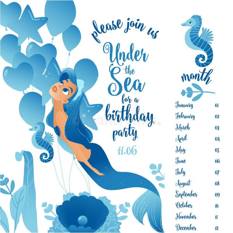 De uitnodigingskaart van de verjaardagspartij met meermin en aantallen vlakke vectorillustratie royalty-vrije illustratie