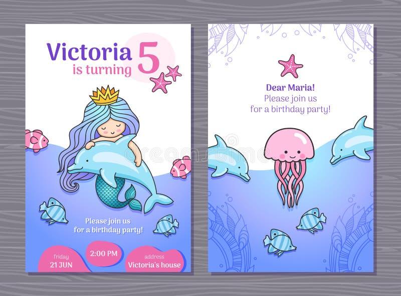 De uitnodigingskaart van de verjaardagspartij met weinig leuke prinsesmeermin, dolfijnen en kwallen vector illustratie