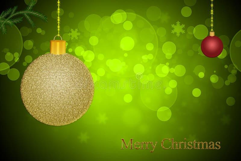 De uitnodigingskaart voor Kerstmis op een groene bokehachtergrond met schittert gouden en rode baldecoratie stock illustratie