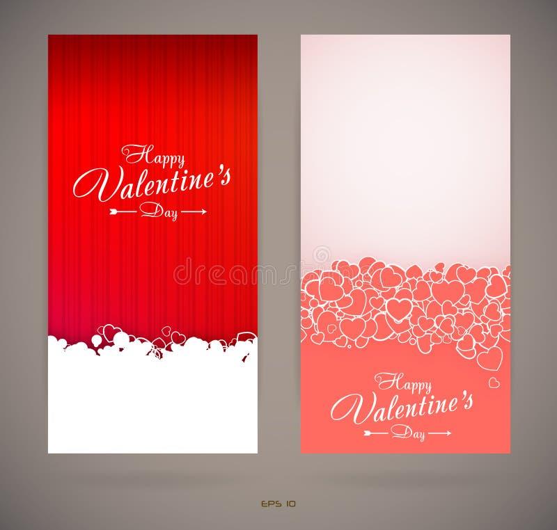 De uitnodigingskaarten van de valentijnskaartendag royalty-vrije illustratie