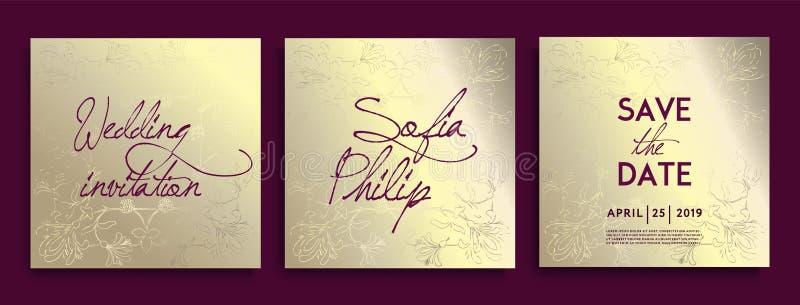 De uitnodigingskaarten van het luxehuwelijk met gouden Decoratieve Bloemen en Kruiden Reeks van kaart met gouden bloem, bladeren royalty-vrije illustratie