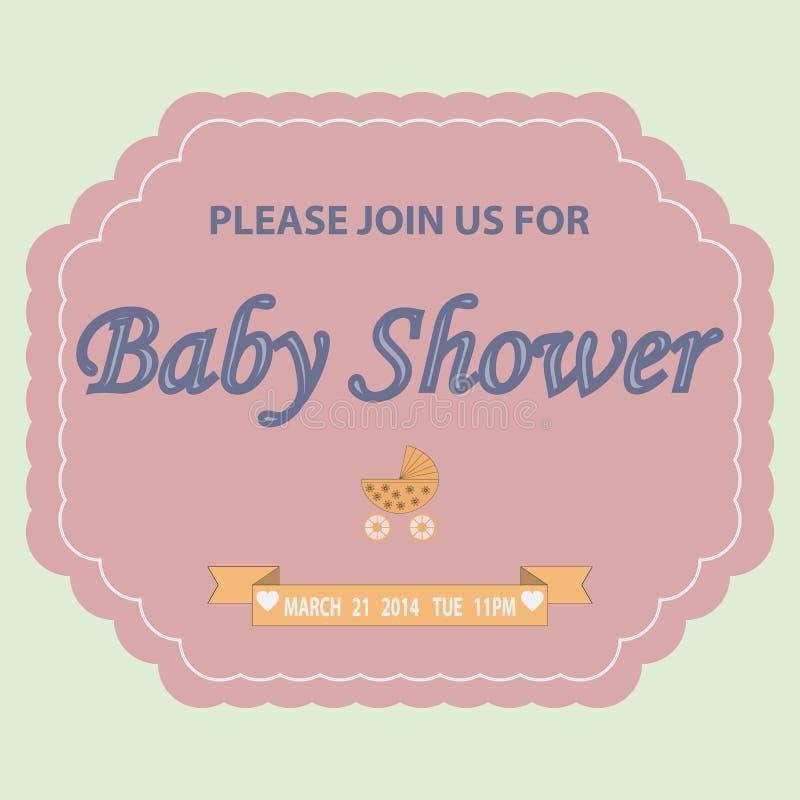 De uitnodigingsmalplaatje van de babydouche royalty-vrije illustratie