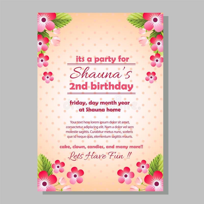 De uitnodigingsmalplaatje van de partijverjaardag met leuke bloem stock illustratie
