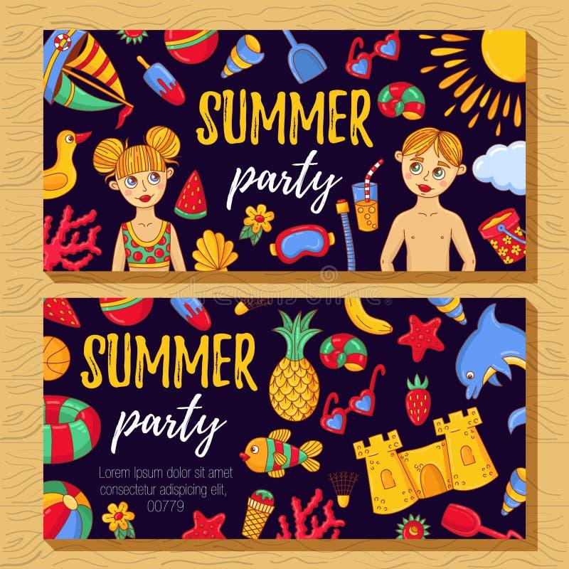 De uitnodigingsmalplaatje van de de zomerpartij met krabbelpictogrammen royalty-vrije illustratie