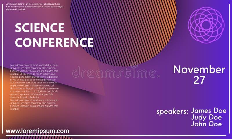 De uitnodigingsontwerpsjabloon van de wetenschapsconferentie, vliegerlay-out Geometrische Achtergrond Minimaal abstract dekkingso stock illustratie